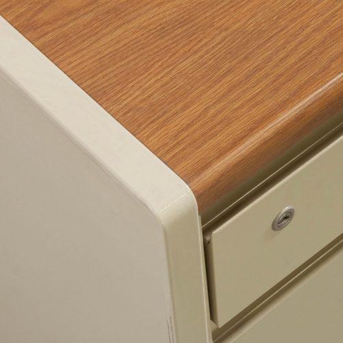 Steelcase 30x60 Metal Double Pedestal Desk in Oak and Putty - Corner