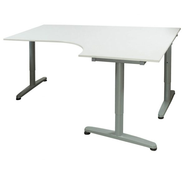 ikea galant used 47 63 adjustable height laminate table right bend white national office. Black Bedroom Furniture Sets. Home Design Ideas