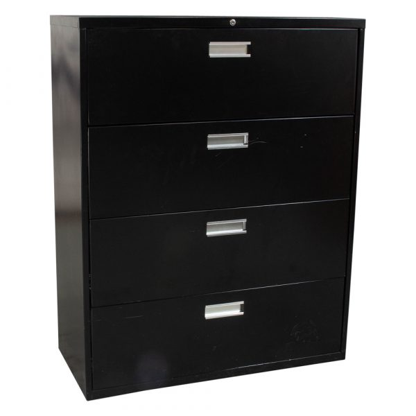 Anderson Hickey Used 42 Inch 4 Drawer Lateral File Black