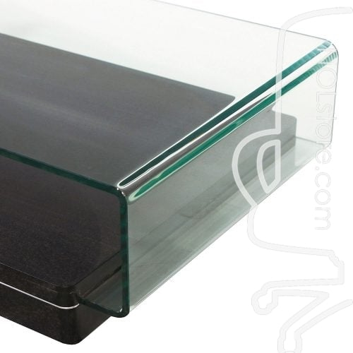 Rectangular Used Glass Coffee Table Side and Corner View