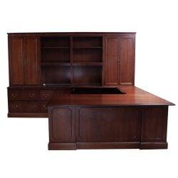 Steelcase Norfolk Used U Shape Desk Left Return, Autumn Walnut