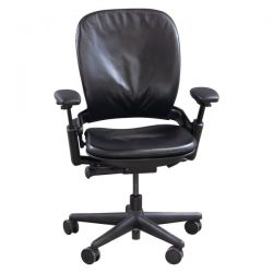 Steelcase Leap V1 Used Leather Task Chair Black Front View