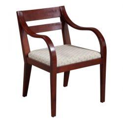 Bernhardt Used Mahogany Wood Side Chair Beige Pattern