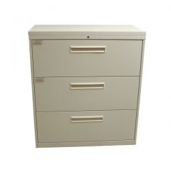 Haworth Used 3 Drawer 36 Inch Lateral File, Creme