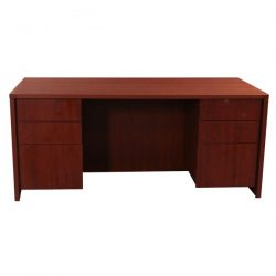 Laminate Used 30x66 Double Pedestal Desk Cherry