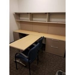 Allsteel Used Private Office Desk Set Maple