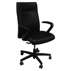 HON Ignition Series Used High-Back Conference Chair Black Leather Front View