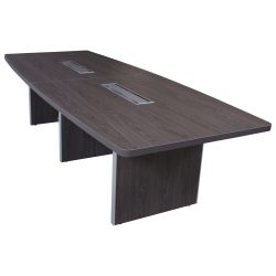 Manhattan Laminate Boat Conference Table with Grommet in Cashmere Gray Top Down View Showing Three Bases
