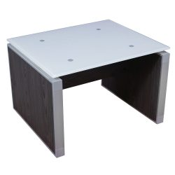 Manhattan 20×24 Glass Top End Table Cashmere Gray Side View