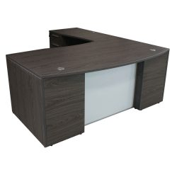 Manhattan Laminate L Shape Desk Left Return Cashmere Gray