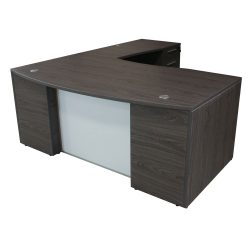 Manhattan Laminate L Shape Desk Right Return Cashmere Gray