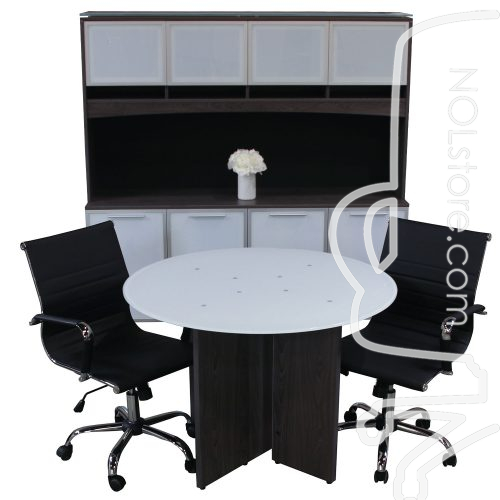 Manhattan glass top meeting table with two black leather chairs and credenza with hutch