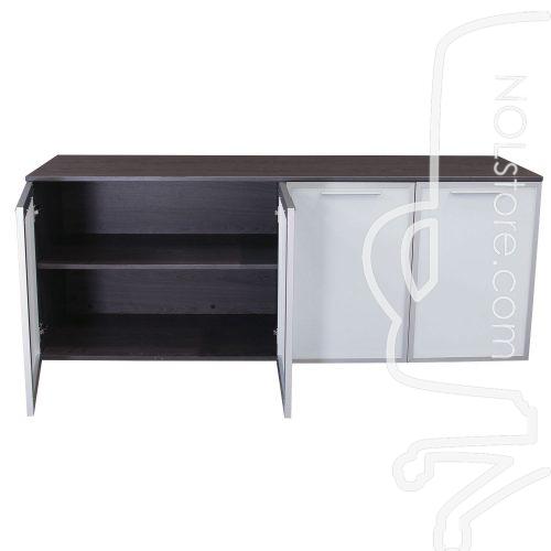 Manhattan 4 door gray laminate storage credenza with left two doors open