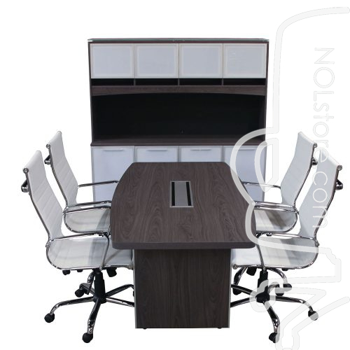 Manhattan boat conference table with four white leather chairs and credenza with hutch