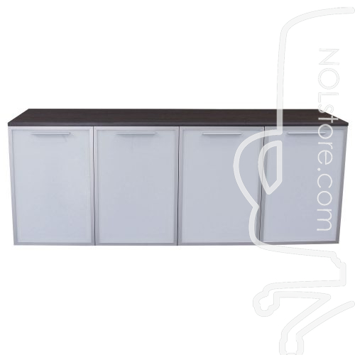Manhattan 4 door gray laminate storage credenza with doors closed