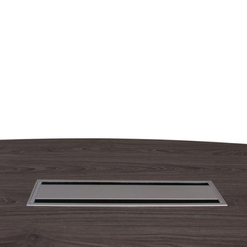 Manhattan gray laminate boat conference table with closed grommet