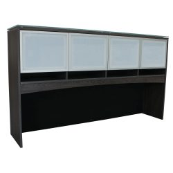 Manhattan 72 Inch Laminate Hutch with Glass Doors in Gray