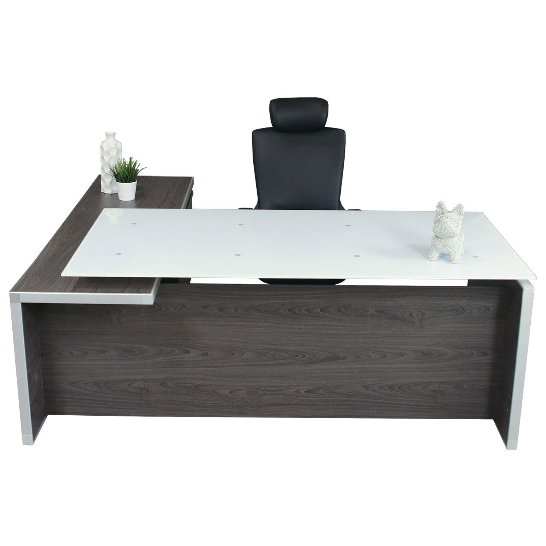 Manhattan Executive L-Shape Laminate Desk w/ Glass Top ...