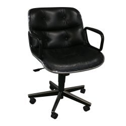 Knoll Pollock Used Leather Conference Chair Black
