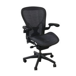 Herman Miller Aeron Used Size C PostureFit Tuxedo Mesh Task Chair Grey Black