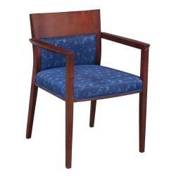 Steelcase Brayton Used Mahogany Wood Side Chair Blue Pattern