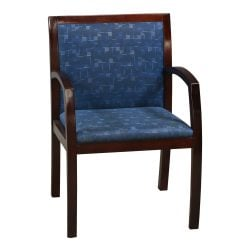Steelcase Brayton Used Mahogany Wood Side Chair Blue Pattern