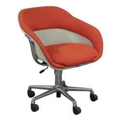 Steelcase Coalesse SW1 Used Lounge Chair Orange and Cream Mesh