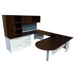 Herman Miller Canvas Used U-Shape Desk Set Left Return, Espresso
