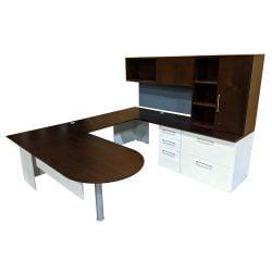 Herman Miller Canvas Used U-Shape Desk Set Right Return, Espresso