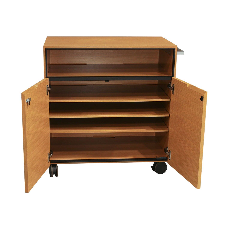 Steelcase Convene Used Wood Veneer Mobile Media Cabinet Maple National Office Interiors And Liquidators