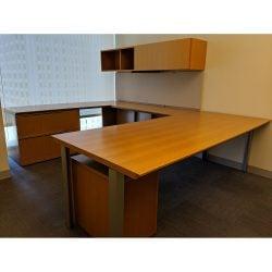 Steelcase Elective Elements Used U-Shape Desk Left Return Maple