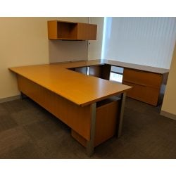 Steelcase Elective Elements Used U-Shape Desk Right Return Maple