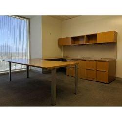 Steelcase Elective Elements Used U-Shape Executive Desk Right Return Maple