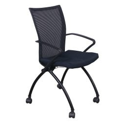 Haworth X99 Seminar Used Mesh Back Mobile Nesting Chair, Blue Speckle