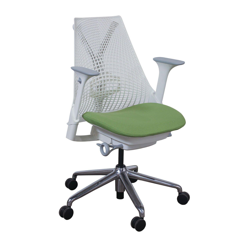Herman Miller Sayl Used White Back Task Chair Green Seat