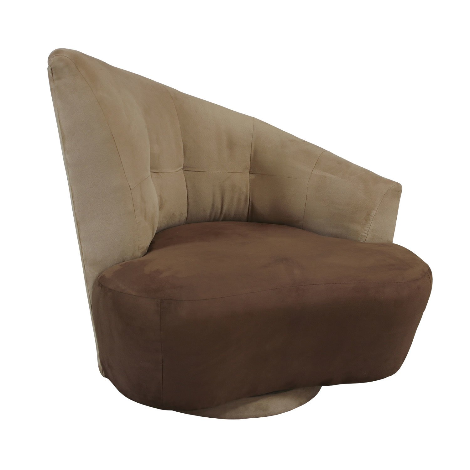 Lazar Odyssey Used Swivel Chair Tan And Brown Suede
