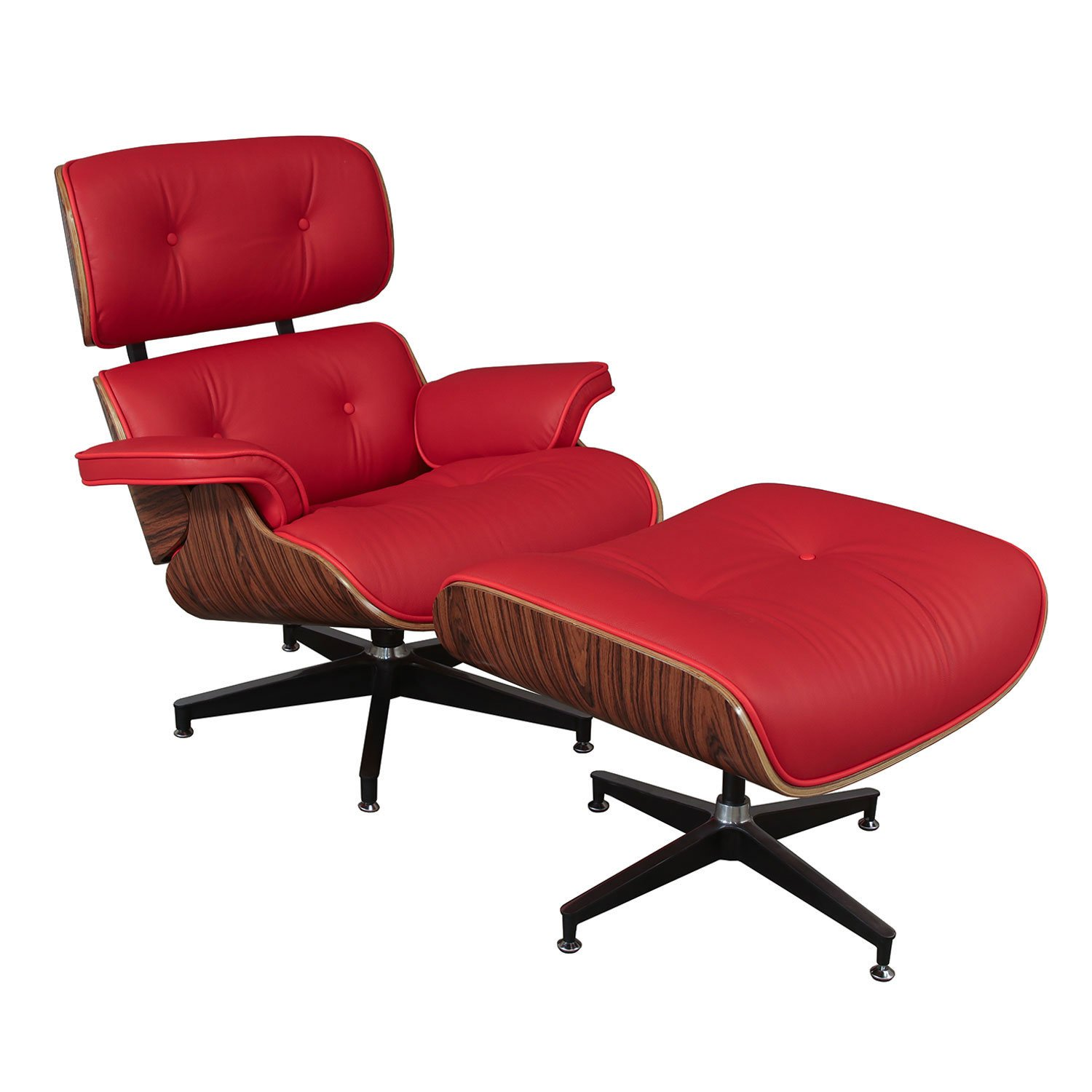 Eames Style Leather Lounge Chair Ottoman Reproduction By Gosit Red