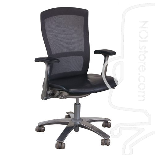 Knoll Life Used Leather and Mesh Back Conference Chair Gray Front View