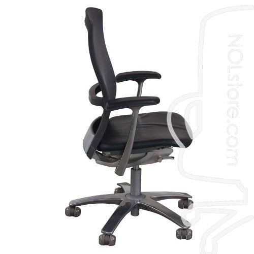 Knoll Life Used Leather and Mesh Back Conference Chair Gray Side View