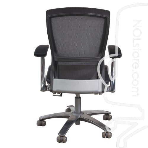 Knoll Life Used Leather and Mesh Back Conference Chair Gray Back View