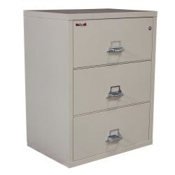 FireKing Used 3 Drawer 32 Inch Lateral File, Putty