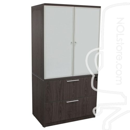 Manhattan 36 inch Laminate 2 Drawer Lateral File with Glass Door Hutch Cashmere Gray