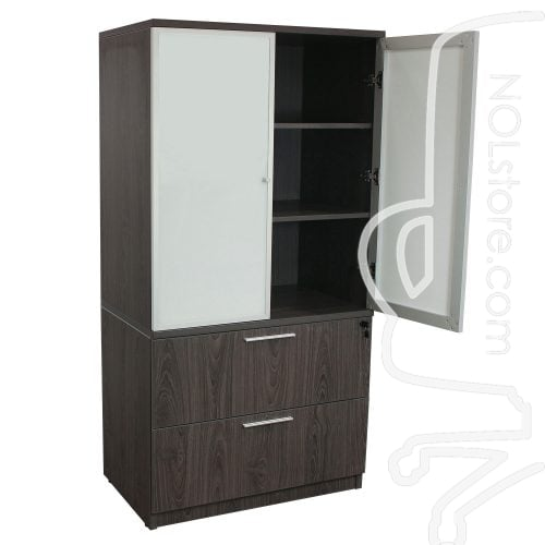 Manhattan 36 inch Laminate 2 Drawer Lateral File with Glass Door Hutch Cashmere Gray Open Door