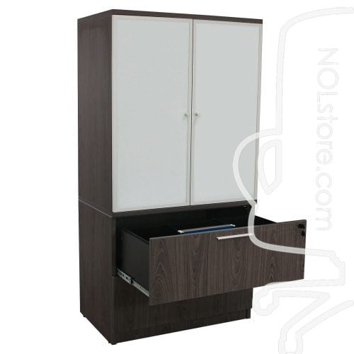 Manhattan 36 inch Laminate 2 Drawer Lateral File with Glass Door Hutch Cashmere Gray Open Top Drawer