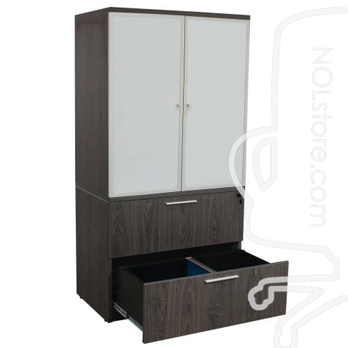 Manhattan 36 inch Laminate 2 Drawer Lateral File with Glass Door Hutch Cashmere Gray Open Bottom Drawer