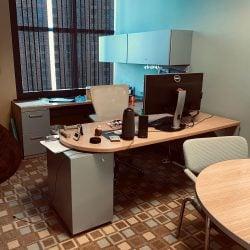 6x8 Haworth Used U-Shape Left Return Desk Set with Overheads Maple