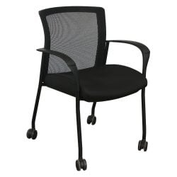 Global Upholstery Vion Used Mobile Stack Chair Black Front View
