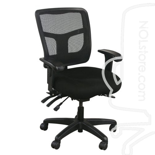Office Master YS72 Used Mesh Mid Back Task Chair Black Front View
