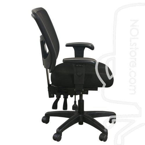 Office Master YS72 Used Mesh Mid Back Task Chair Black Side View