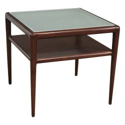 Martin Brattrud Used End Table with Frosted Glass Top Walnut Side View